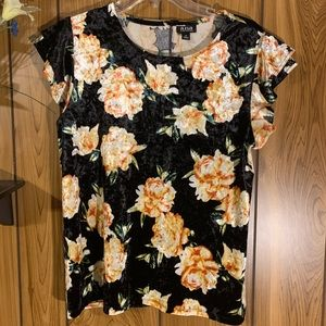 A.N.A Top Floral Print Velvet Like Fabric Flutter
